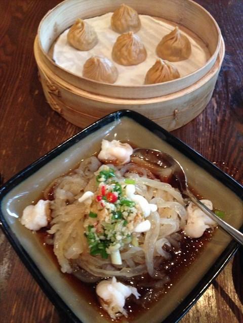 Marinated jellyfish (foreground) & soupy dumplings